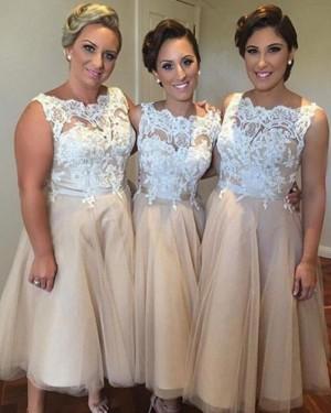 Bateau Champagne Lace Bodice Tulle Tea Length Bridesmaid Dress BD2063