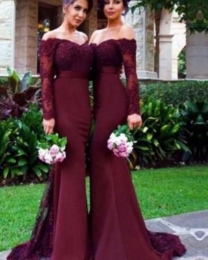 Burgundy Appliqued Off the Shoulder Mermaid Bridesmaid Dress BD2064