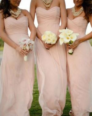 Simple Long Sweetheart Ruched Pink Chiffon Bridesmaid Dress BD2065