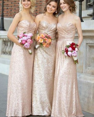 Long Ruched Gold Sweetheart Sequined Bridesmaid Dress BD2067