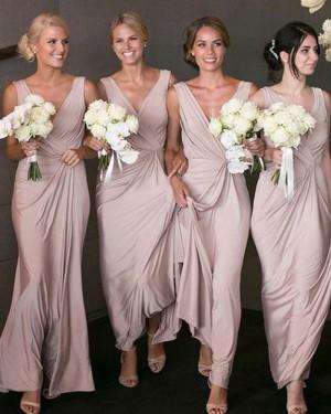 Long Chiffon Dusty Pink V-neck Ruched Bridesmaid Dress BD2071