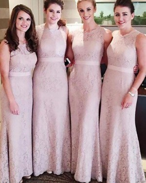 Jewel Long Sheath Lace Nude Lace Bridesmaid Dress with Belt BD2072