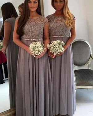 Grey Pleated Jewel Lace Bodice Chiffon Bridesmaid Dress BD2073