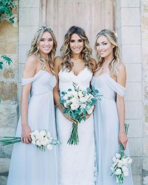 Blue Chiffon Off the Shoulder Ruched Dusty Bridesmaid Dress BD2075
