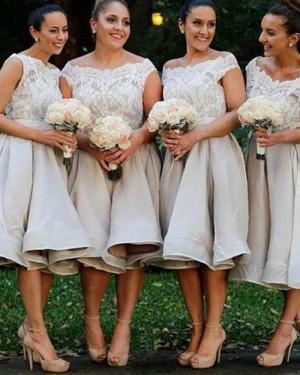 Off the Shoulder Knee Length Lace Bodice Grey Satin Bridesmaid Dress BD2080