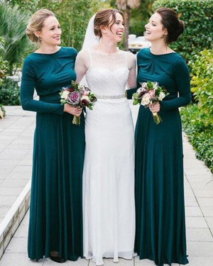 Long Jewel Dark Green Pleated Bridesmaid Dress with Long Sleeves BD2081