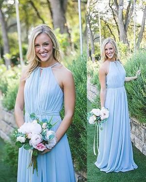 Long Chiffon Blue Halter Ruched Bridesmaid Dress BD2082