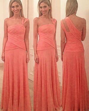 Long One Shoulder Coral Ruched Bridesmaid Dress BD2084