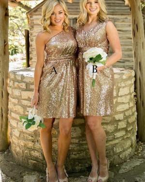 One Shoulder Short Gold Sequined Bridesmaid Dress BD2085