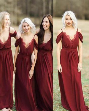 Cold Shoulder Long Red Pleated Bridesmaid Dress BD2086