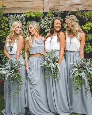 Blue Chiffon V-neck White and Dusty Pleated Long Bridesmaid Dress BD2087