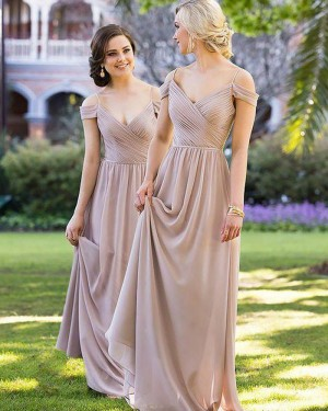 Cold Shoulder Long Ruched Brown Bridesmaid Dress BD2089