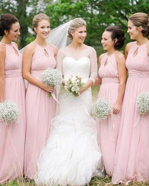 High Neck Long Ruched Chiffon Cutout Empire Pink Bridesmaid Dress BD2090