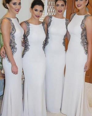 Long Bateau Ivory Mermaid Bridesmaid Dress with Black Lace Appliques BD2092