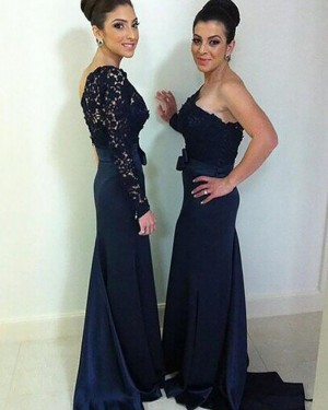 Navy Blue One Shoulder Lace Bodice Mermaid Bridesmaid Dress with Long Sleeve BD2093