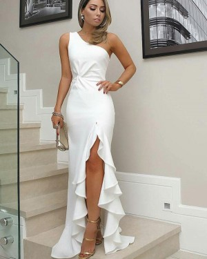 One Shoulder Long White Satin Mermaid Formal Dress with Pleated Slit BD2095