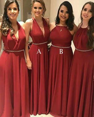 Halter Long Chiffon Red Pleated Bridesmaid Dress with Beading Belt BD2096