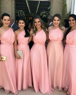 Floor Length One Shoulder Pink Bridesmaid Dress with Belt BD2097