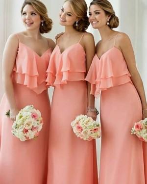 Spaghetti Straps Long Layered Pink Bridesmaid Dress BD2099