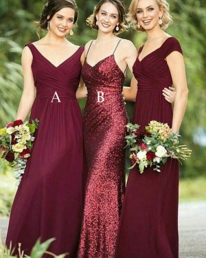 Spaghetti Straps Long Rose Gold Sequined Mermaid Bridesmaid Dress BD2101