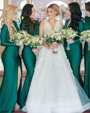 Long Sleeve V-neck Green Satin Mermaid Bridesmaid Dress with Slit BD2102