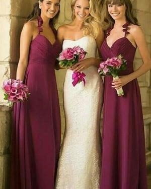 Halter Long Ruched Burgundy Bridesmaid Dress BD2103