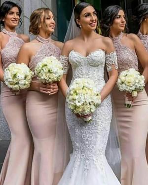 Halter Long Lace Appliqued Mermaid Nude Bridesmaid Dress BD2104
