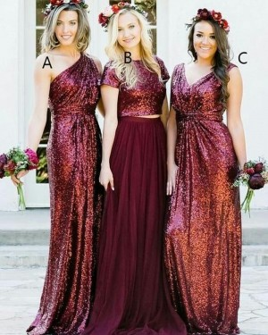 One Shoulder Long Rose Gold Sequined Sheath Bridesmaid Dress BD2106