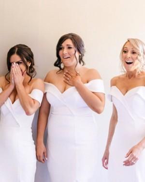Off the Shoulder Tea Length White Satin Sheath Bridesmaid Dress with Side Slit BD2111