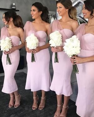 Light Pink Mermaid Tea Length One Shoulder Bridesmaid Dress BD2112