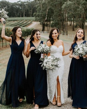 Simple Navy Blue Chiffon V-neck Ruched Bridesmaid Dress with Side Slit BD2113