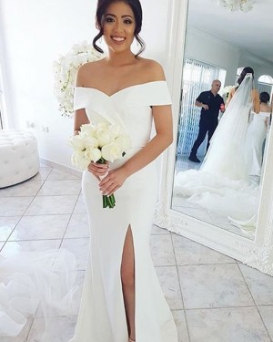 Simple White Mermaid Off the Shoulder Bridesmaid Dress with Side Slit BD2114