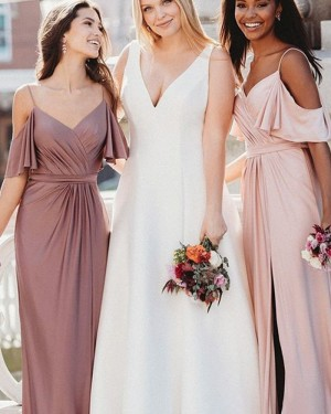 Bohemian Style Chiffon Cold Shoulder Ruched Bridesmaid Dress with Side Slit BD2120