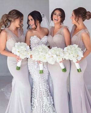 Simple V-neck Grey Satin Mermaid Bridesmaid Dress BD2121