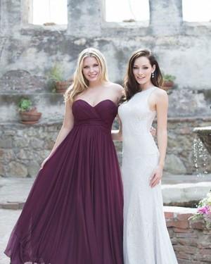 Simple Burgundy Sweetheart Ruched Chiffon Bridesmaid Dress BD2122
