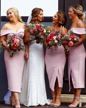 Off the Shoulder Tea Length Satin Bridesmaid Dress with Side Slit BD2124