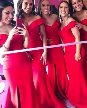 Off the Shoulder Satin Red Mermaid Bridesmaid Dress with Side Slit BD2126
