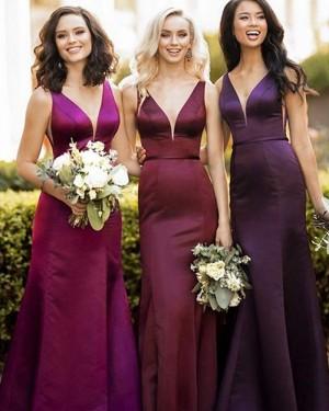 Satin Mermaid V-neck Burgundy Bridesmaid Dress BD2127