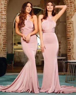 Simple Satin Mermaid Convertible Nude Bridesmaid Dress BD2129