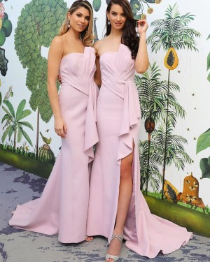 Pink Satin Mermaid Strapless Bridesmaid Dress with Side Slit BD2131