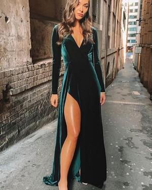 Dark Green V-neck Velvet Bridesmaid Dress with Long Sleeves BD2132