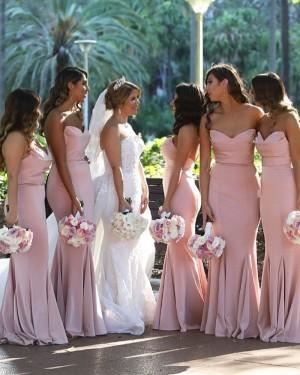 Sweetheart Satin Pearl Pink Mermaid Bridesmaid Dress BD2135