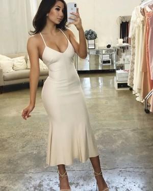 Ivory Tea Length Spaghetti Straps Bodycon Formal Dress BD2139