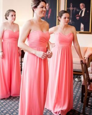Sweetheart Chiffon Sheath Coral Ruched Bridesmaid Dress BD2141