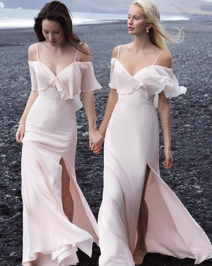 Cold Shoulder Mermaid Chiffon Light Pink Bohemian Bridesmaid Dress with Side Slit BD2142