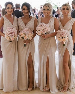 Sheath Chiffon Ruched Nude Bridesmaid Dress with Side Slit BD2143
