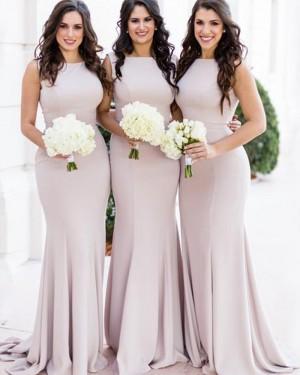 Simple Satin Mermaid Jewel Nude Bridesmaid Dress BD2144