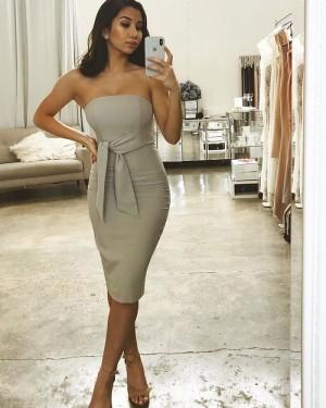 Strapless Bodycon Short Grey Bridesmaid Dress with Sash BD2145