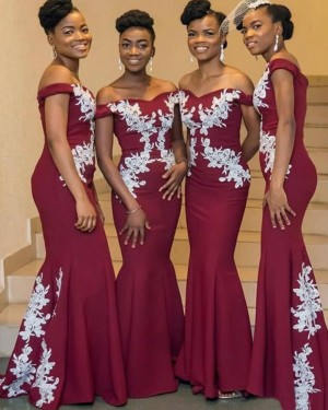Burgundy Off the Shoulder Appliqued Mermaid Satin Bridesmaid Dress BD2150