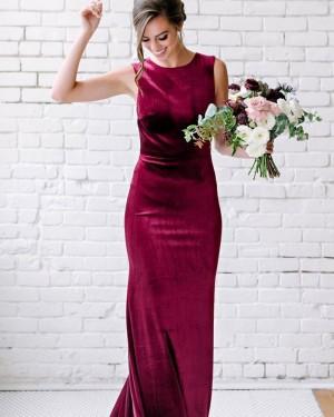 Burgundy Jewel Neck Mermaid Velvet Bridesmaid Dress BD2153